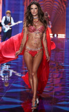 Alessandra-Ambrosio- victoria's secret - red bra and cape