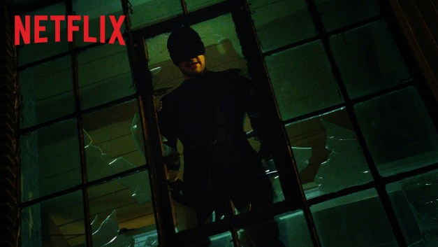 Daredevil Netflix series - Daredevil peers through window