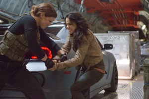 Giles Keyte/Universal Pictures Riley (Gina Carano) and Letty (Michelle Rodriguez) square off.