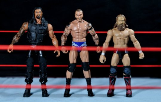 Randy Orton Mattel WWE Elite 35 -scale shot with Roman Reigns and Daniel Bryan