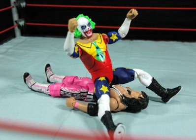 Doink the Clown WWE Mattel figure review - dropping on Bret Hart