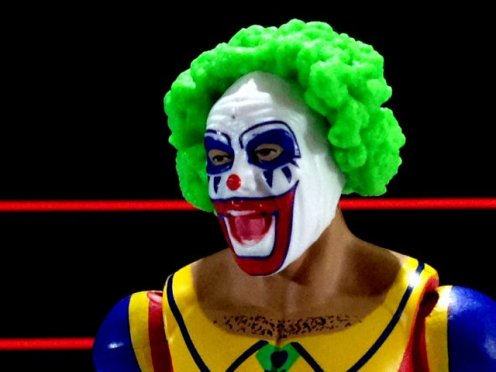 Doink the Clown WWE Mattel figure review - head up close