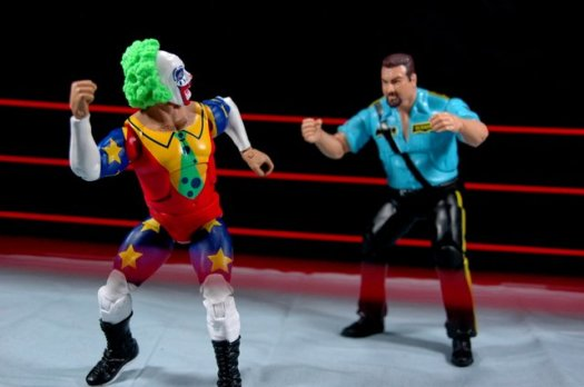 Doink the Clown WWE Mattel figure review - taunting Big Bossman