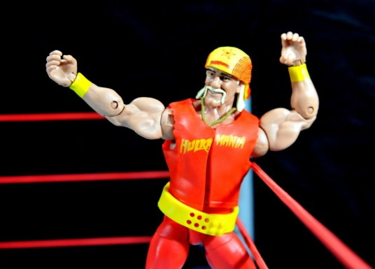 Hulk Hogan Hall of Fame figure -playing to the crowd