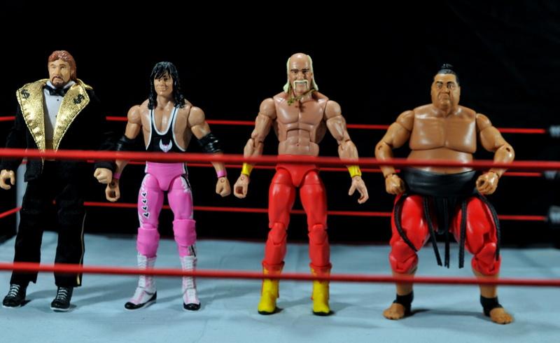 Hulk Hogan Hall of Fame figure - scale shot with DiBiase, Bret Hart and Yokozuna