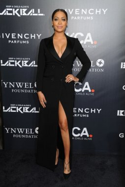 La La Anthony -black dress legs heels