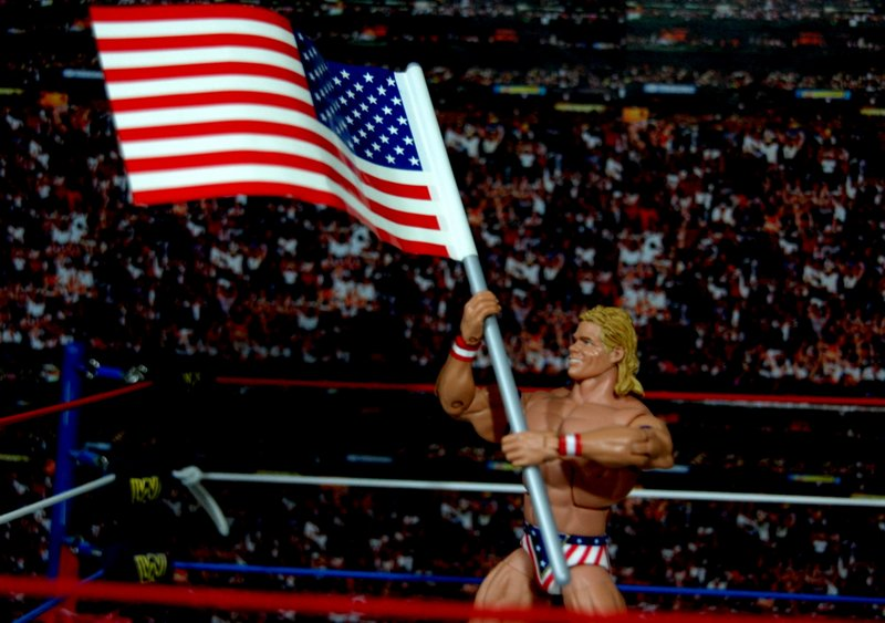 Lex Luger WWE Mattel Elite 30 figure - holding flag up
