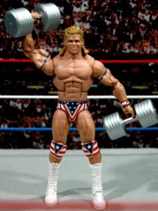 Lex Luger WWE Mattel Elite 30 figure -with dumbells