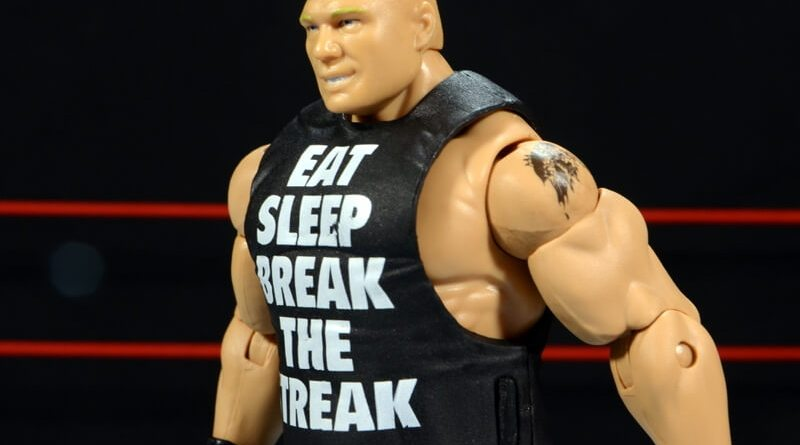 Mattel Brock Lesnar WWE figure - side with shirt on.