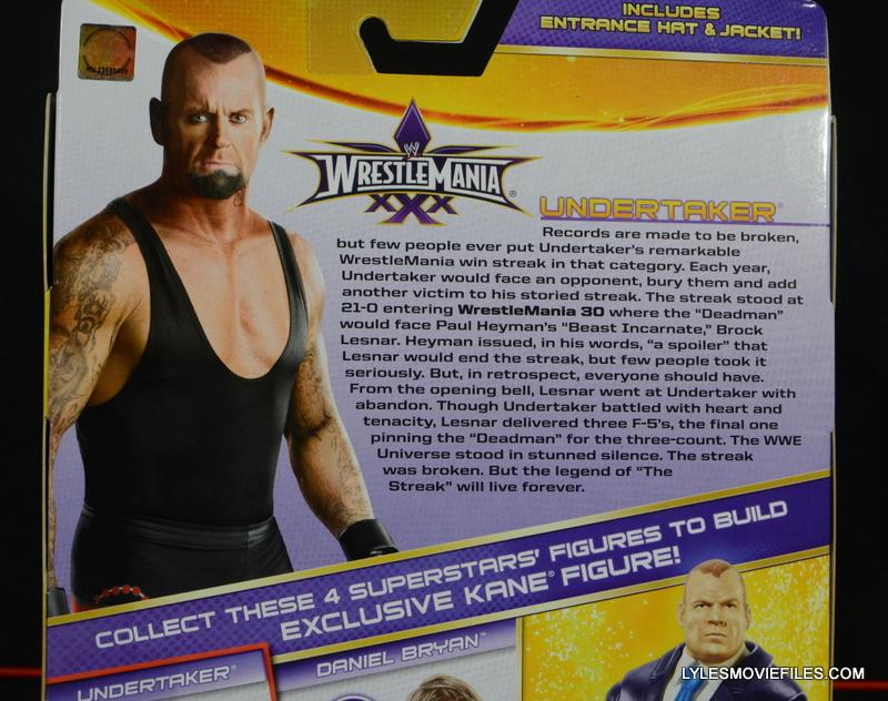 Wrestlemania 30 Undertaker Mattel - card back bio