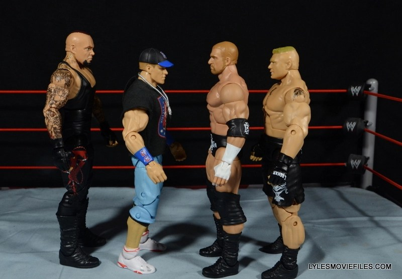 Wrestlemania 30 Undertaker Mattel -scale shot with Cena, Triple H and Brock lesnar