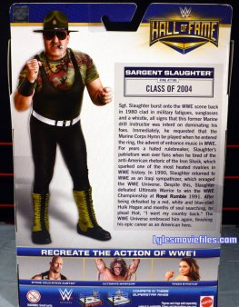 Sgt. Slaughter WWE Hall of Fame figure - rear bio