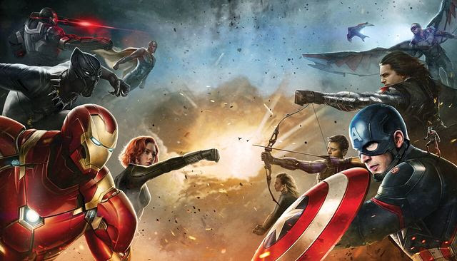 Captain America Civil War promo art Iron Man vs Cap team