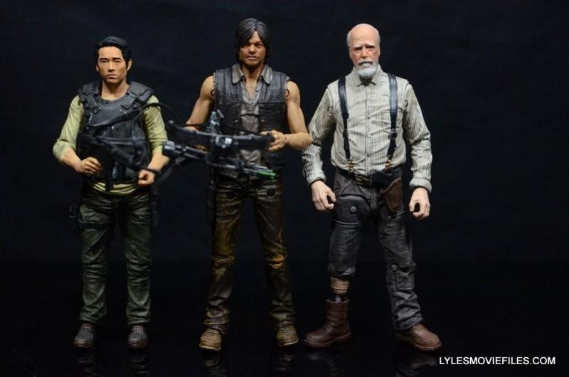 Daryl Dixon Walking Dead deluxe figure -scale shot with Glenn and Herschel