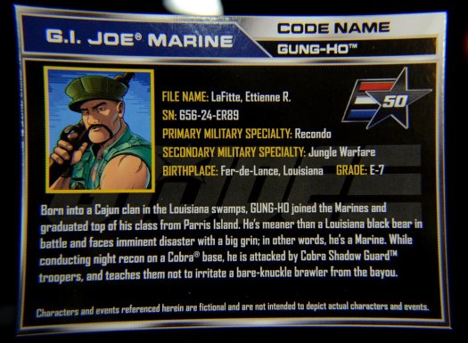 GI Joe Gung-Ho vs Cobra Shadow Guard -Gung-Ho file card