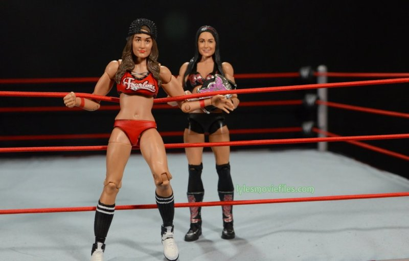 Nikki Bella Mattel WWE figure - getting into the ring with Brie Bella