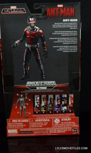 Ant-Man Marvel Legends figure review - rear package