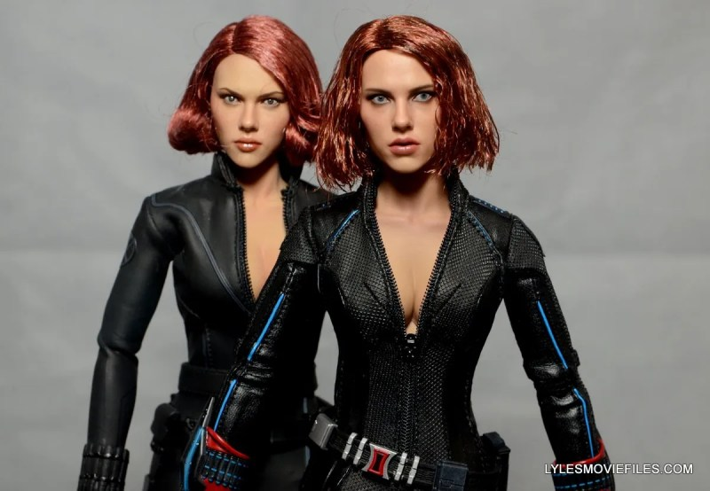 Hot Toys Avengers Age of Ultron Black Widow - close up comparing with Avengers Black Widow