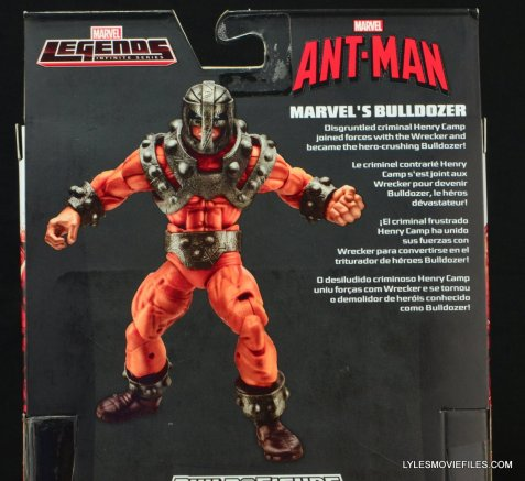 Marvel Legends Bulldozer review - back package