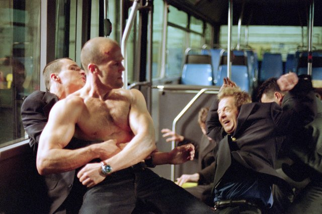 The Transporter - Jason Statham shirtless bus fight