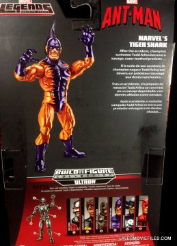 Tiger Shark Marvel Legends figure review - rear package