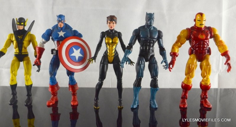 Wasp Marvel Legends figure review - scale with Yellowjacket, Captain America, Black Panther and Iron Man