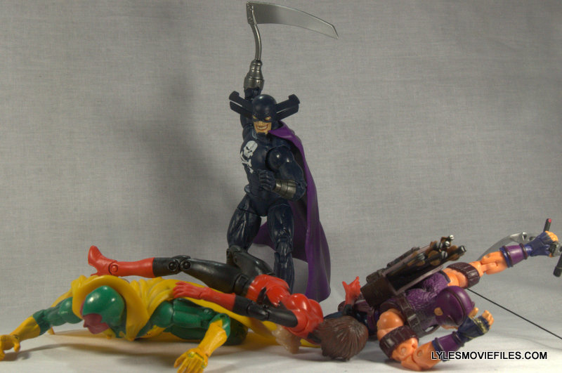 Marvel Legends Grim Reaper - beating Vision, Wasp and Hawkeye