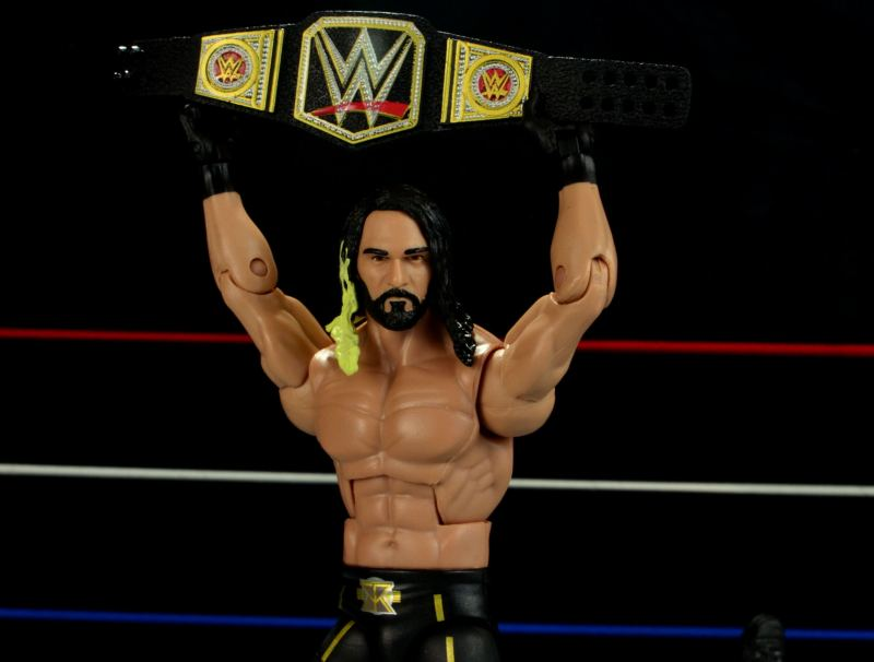 Seth Rollins Mattel exclusive -raising WWE title