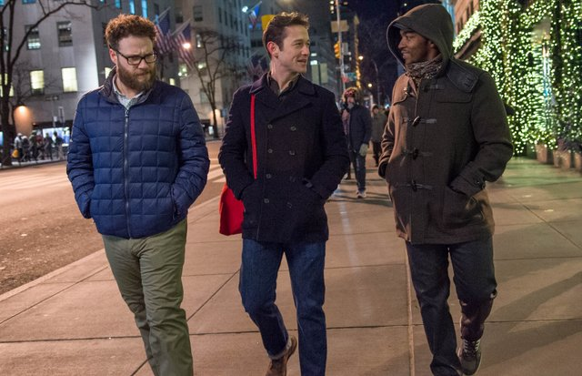 "L-r, Seth Rogen, Joseph Gordon-Levitt and Anthony Mackie star in Columbia Pictures' ""The NIght Before."""