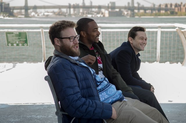 "L-r, Seth Rogen, Anthony Mackie and Joseph Gordon-Levitt star in Columbia Pictures' ""The NIght Before."""