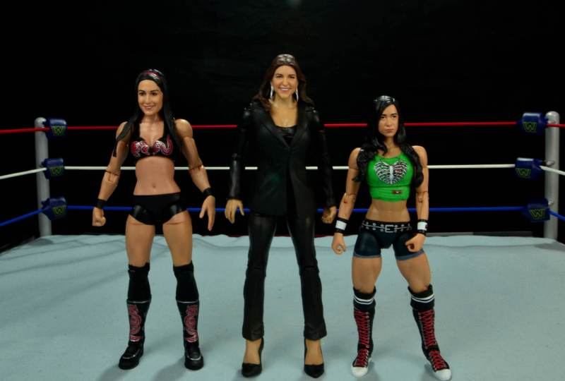 WWE Basic Stephanie McMahon - scale shot with Brie Bella and AJ Lee