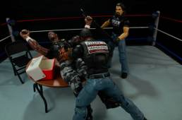 WWE Mattel APA -Farooq puts Devon Dudley through table