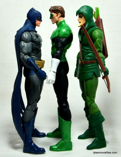 DC Icons Green Lantern figure review -scale with Batman and Green Arrow