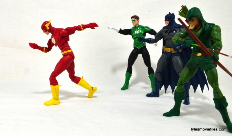 DC Icons The Flash figure review -racing off with Flash, Green Lantern, Batman and Green Arrow
