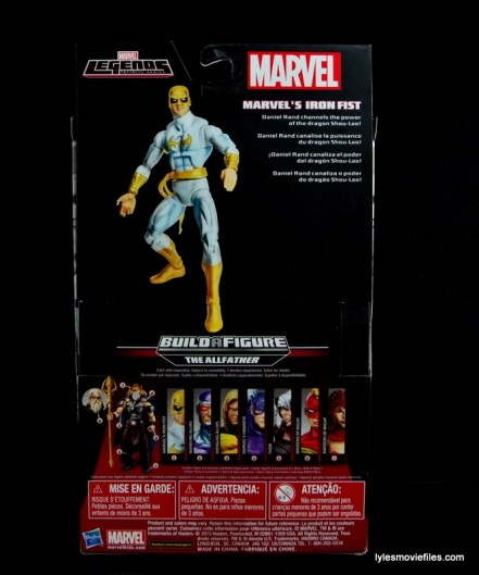 Marvel Legends Iron Fist figure review - rear package