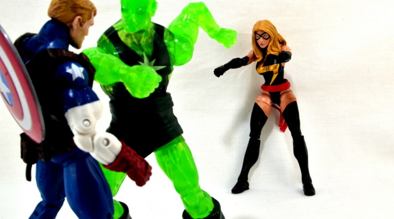 Marvel Legends three-pack Ms. Marvel, Captain America and Radioactive Man -Cap and Ms. Marvel vs Radioactive Man