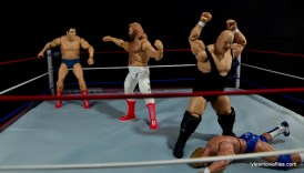 Mattel WWE Heenan Family set action figures review -Andre helping Mr Wonderful vs Studd and Bundy