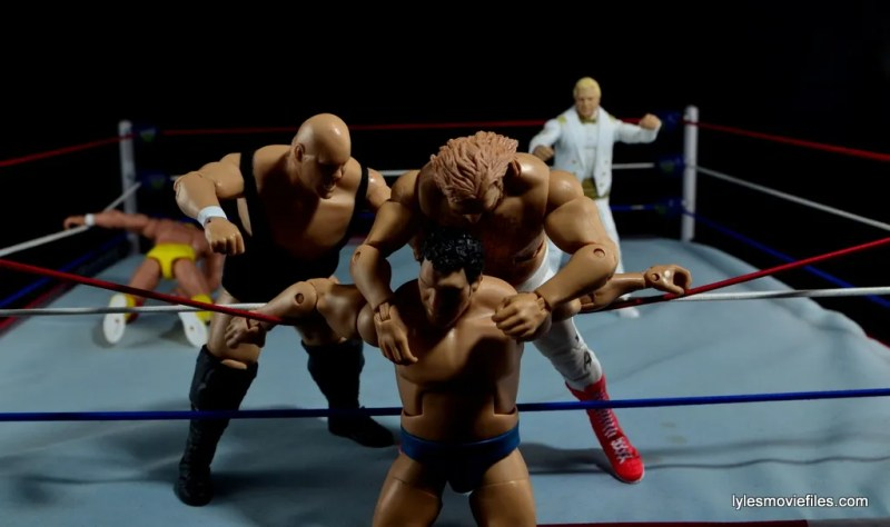 Mattel WWE Heenan Family set action figures review -King Kong Bundy and Big John Studd beat down Andre the Giant