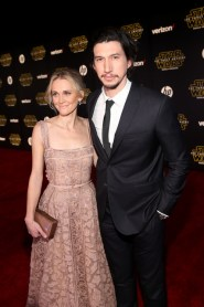 "HOLLYWOOD, CA - DECEMBER 14: Actors Joanne Tucker (L) and Adam Driver attend the World Premiere of ""Star Wars: The Force Awakens"" at the Dolby, El Capitan, and TCL Theatres on December 14, 2015 in Hollywood, California. (Photo by Jesse Grant/Getty Images for Disney) *** Local Caption *** Adam Driver;Joanne Tucker"
