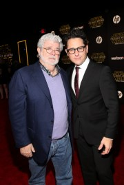 """HOLLYWOOD, CA - DECEMBER 14: Directors George Lucas (L) and J.J. Abrams attend the World Premiere of """"Star Wars: The Force Awakens"""" at the Dolby, El Capitan, and TCL Theatres on December 14, 2015 in Hollywood, California. (Photo by Jesse Grant/Getty Images for Disney) *** Local Caption *** J.J. Abrams;George Lucas"""