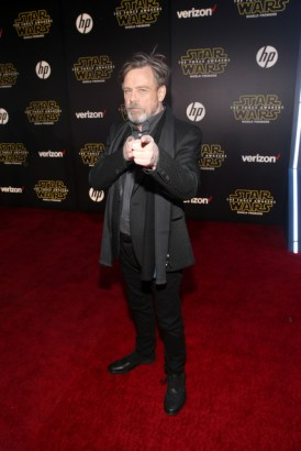 """HOLLYWOOD, CA - DECEMBER 14: Actor Mark Hamill attends the World Premiere of """"Star Wars: The Force Awakens"""" at the Dolby, El Capitan, and TCL Theatres on December 14, 2015 in Hollywood, California. (Photo by Jesse Grant/Getty Images for Disney) *** Local Caption *** Mark Hamill"""