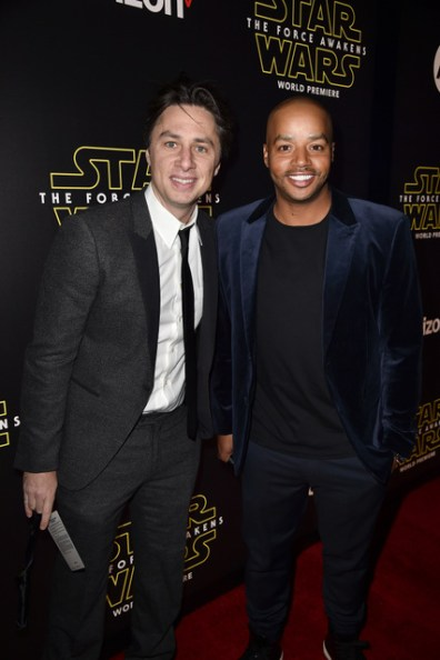 """HOLLYWOOD, CA - DECEMBER 14: Actors Zach Braff (L) and Donald Faison attend the World Premiere of """"Star Wars: The Force Awakens"""" at the Dolby, El Capitan, and TCL Theatres on December 14, 2015 in Hollywood, California. (Photo by Kevin Winter/Getty Images for Disney) *** Local Caption *** Zach Braff;Donald Faison"""
