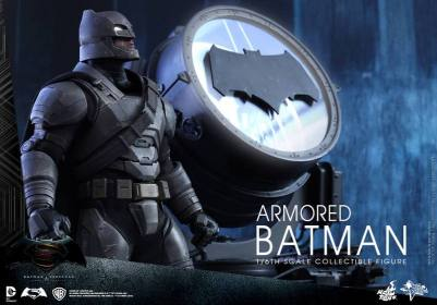 Hot Toys Batman v Superman Armored Batman -next to Batsignal