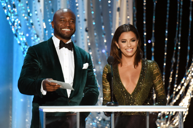 LOS ANGELES, CA - JANUARY 30: Actors Taye Diggs (L) and Eva Longoria speak onstage during The 22nd Annual Screen Actors Guild Awards at The Shrine Auditorium on January 30, 2016 in Los Angeles, California. 25650_021 (Photo by Kevin Winter/Getty Images for Turner) *** Local Caption *** Taye Diggs;Eva Longoria