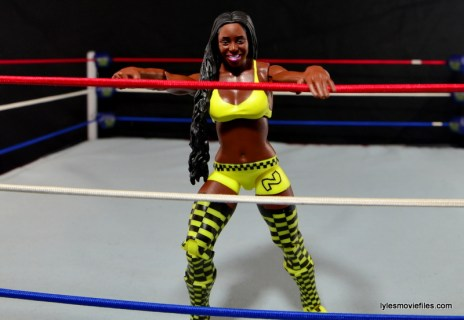 WWE Mattel Basic Naomi figure review -leaning on ropes