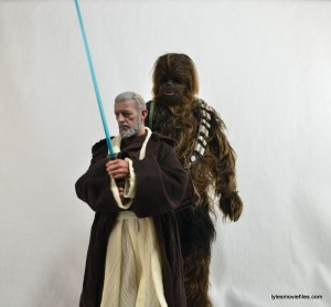 Hot Toys Obi-Wan Kenobi figure review -lightsaber up with Chewbacca