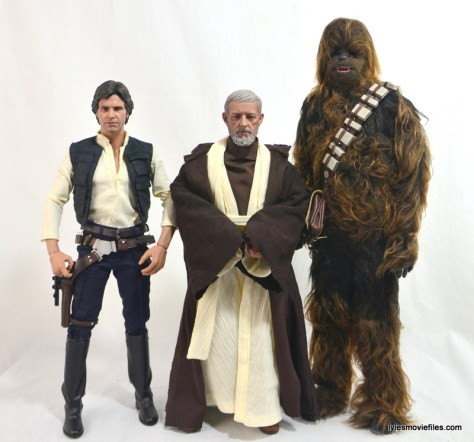 Hot Toys Obi-Wan Kenobi figure review -scale with Han Solo and Chewbacca