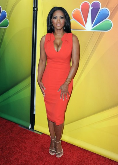 kenya moore orange dress