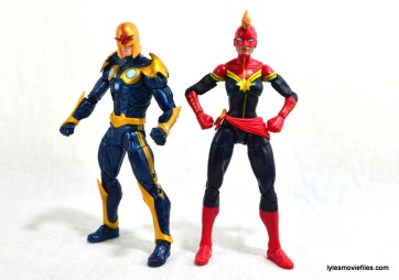 Marvel Legends Captain Marvel figure review - standing with Nova