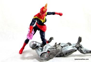 Marvel Legends Captain Marvel figure review - taking Ultron down